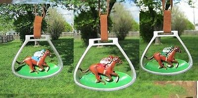 Holiday RACEHORSE in STIRRUP IRONS Xmas Ornament set of 3 CLEARANCE