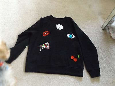 Girls/ladies Black Sequin Sweat Shirt Size Med 10/12 New