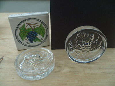 Two Rare Vintage Frank Thrower Dartington Art Crystal Coasters Aristotle Ft332