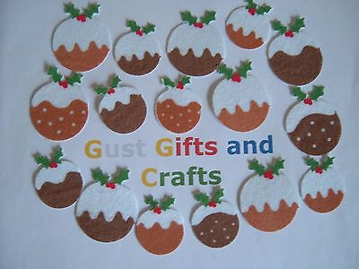 16 Felt Christmas Pudding Stickers in 2 sizes for card making or crafts