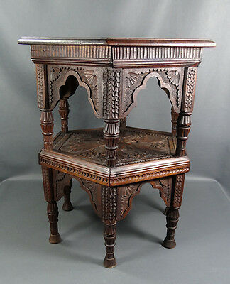 1880 Islamic Oriental Coffee Hookah Occasional Table Double Deck Carved Walnut