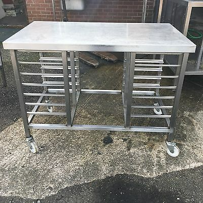 Mobile Stainless Steel Prep Bench Table Work Surface Shelf Catering Tray Racks