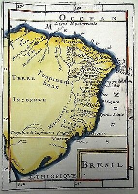 1683 Mallet - SOUTH AMERICA BRAZIL - FINE handcol engraving