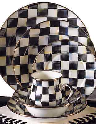 New! Mackenzie Childs Courtly Check Enamel Service for 4 Charger Dinner & More
