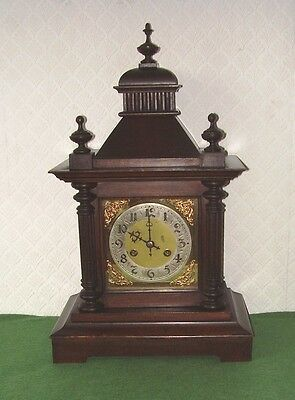 ANTIQUE CLOCK VERY LARGE BRASS DIAL BRACKET CLOCK CHIMING VICTORIAN circa 1890