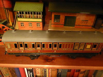 Early O Gauge Tin Plate  Hornby Lms 3Rd Class 8 Wheel Carriage Super Condition