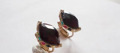Vintage 1980's Lc Liz Claiborne Colourful Crystal Gold Tone Clip On Earrings