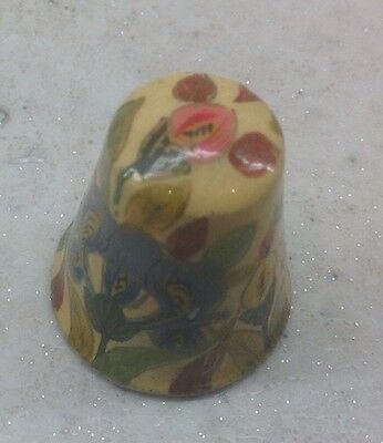 Wooden Thimble - Painted Floral Design - Collectable