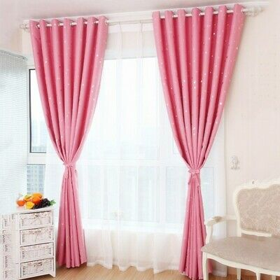 New Bedroom Blackout Curtain Starry Pattern Child Living Room Eyelet Drapes 1PC