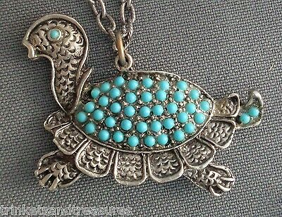 """Vintage Southwest Style 24"""" Necklace Turtle Pendant Paved with Faux Turquoise!"""