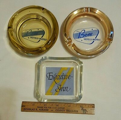 Vintage Lot of 3 Advertising Ashtrays 2 Boss Hotels/Motels and Executive Inn