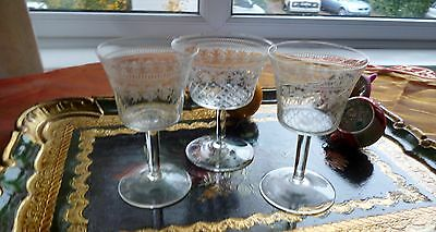 Set of 3 Stunning Vintage Etched Pall Mall Small Glasses/Port Sherry