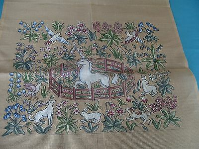 Medieval Caught unicorn pre printed tapestry/needlepoint canvas.