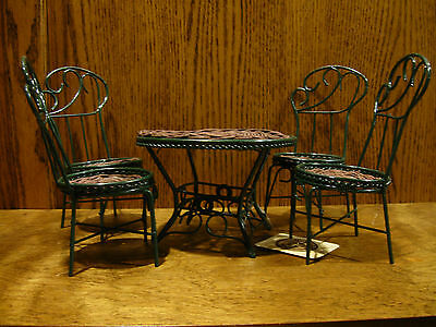Boyds Teddy Bear Accessories #6548 PATIO TABLE with FOUR CHAIRS, Metal & Wood