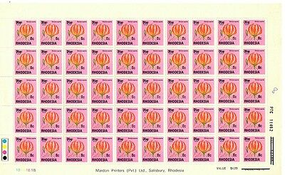 Rhodesia 1976 Surcharged Sheet of 50 (8c on 7 1/2c) SG 526 MNH