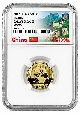 2017 China 100 Yuan 8g Gold Panda NGC MS70 ER (Excl Great Wall Label) SKU44586