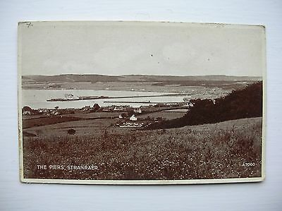 Stranraer, The Piers. (Valentines - Very old postcard)