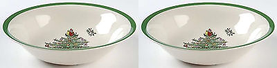 """Spode  Christmas Tree Soup / Cereal Ascot Bowl 8.25"""" set of 2 New"""