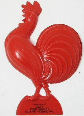 Vintage Hard Plastic Red ROOSTER Advertising BILL'S FEED SERVICE Wall Hanging