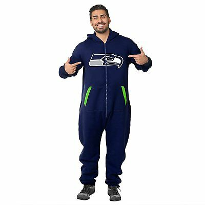 Forever Collectibles NFL Unisex Seattle Seahawks Logo Jumpsuit, Navy