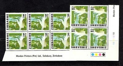 "Zimbabwe 1980 Definitive ""Waterfalls"" $2 Control and Imprint Block"