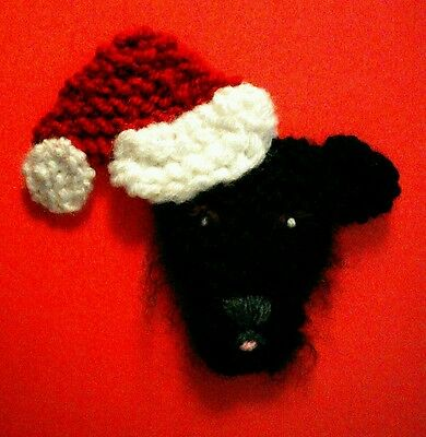 knitted Christmas patterdale terrier brooch NEW !