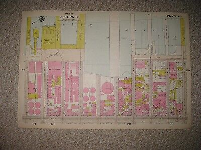 Antique 1916 Railroad Dock Area Oil Cos New York City Manhattan Handcolored Map