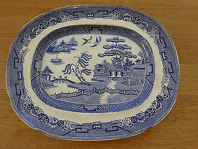 "Vintage Victorian  Willow Pattern Meat plate platter 13"" x 11"""