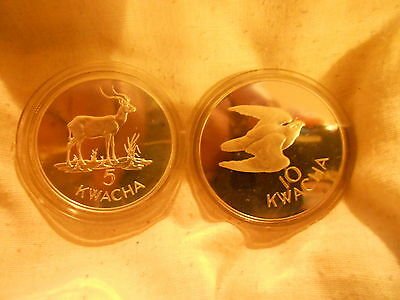 "2 Mint Coins  - ""Wwf Silver Conservation Coins - Zambia"" ~ Kenneth Kaunda"