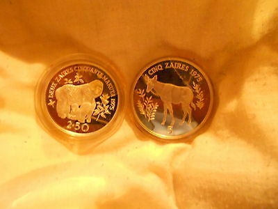 "2 Mint Coins  - ""Wwf Silver Conservation Coins – Zaire"""