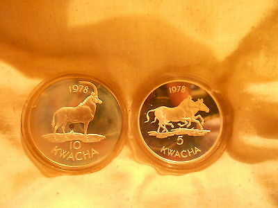 "2 Mint Coins  - ""Wwf Silver Conservation Coins - Malawi"" ~ Hastings Banda"