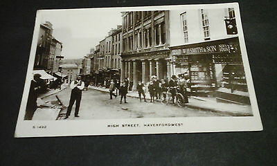 Pembrokeshire:Haverfordwest,High St,W H Smiths,people,RP postcard