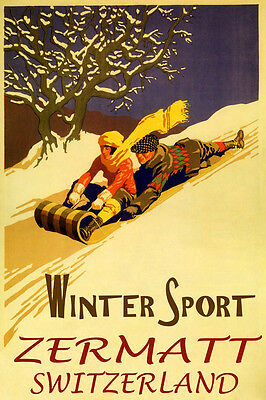 Winter Sport Zermatt Switzerland Fun Sledding Snow Toboggan Vintage Poster Repro