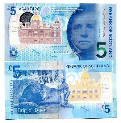 Scotland 5 Pounds 2016 P-New Bank Of Scotland Unc Polymer