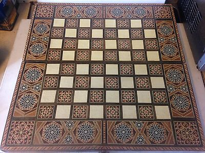 Vintage Handmade Wooden Marquetry Design Folding  Chess & Backgammon Board