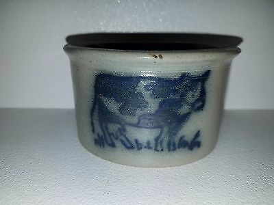 """1986 Jerry Beaumont early Cross mark cow stoneware blue small bowl 3 5/8"""" dia"""