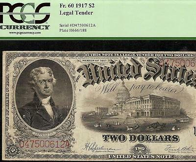 Large 1917 $2 Dollar Bill United States Legal Tender Note Big Paper Money Pcgs