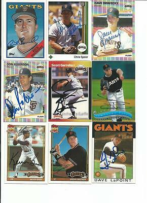 San   Francisco   Giants     9    Card   Autographed   Lot