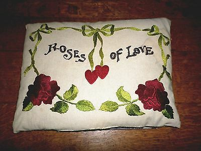 Vintage Arts & Crafts Hand Embroidered Pillow *Roses Of Love* Beautiful!