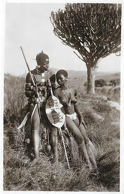 1950s Zulu Warrior and Topless Woman South Africa Unused RP Postcard