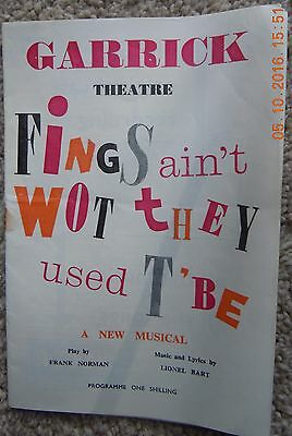 Garrick Theatre Programme - Fings Ain't Wot They Used T' Be - Feb 1960