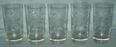 5 Poinsettia Etched Tumblers 11 Ounce