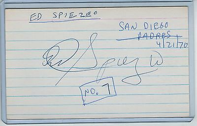 Ed Spiezio Index Card Signed 1967 Ws Champs Cardinals Psa/dna Certified