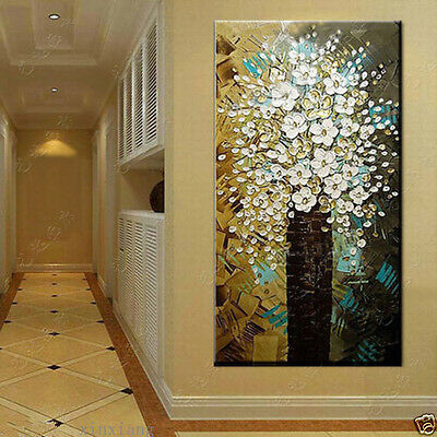 """Modern Abstract Canvas Art Wall Decor Oil Painting on canvas """"Flowers"""" No Frame"""