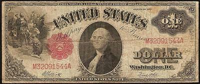 Large 1917 $1 One Dollar Bill United States Legal Tender Red Seal Note Big Money