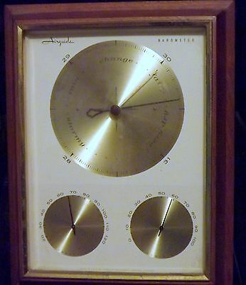 Vintage Retro Airguide Barometer Wall Weather Station Temperature Humidity Wood