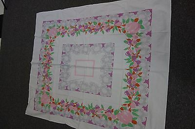1940's Print Tablecloth- Apples & Apple Blossoms-Pink & Gray-51x44- PRETTY -SALE
