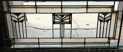 "Antique Prairie Style Stained Leaded Glass Transom Window  32"" by 13"""