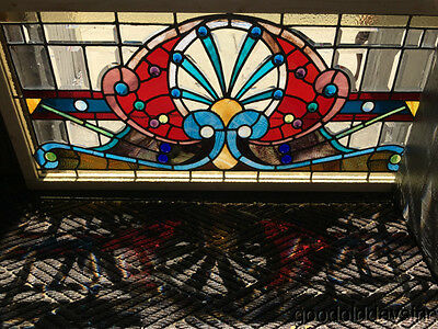 "Antique Chicago Victorian Stained Leaded Glass Transom Window 43"" by 20"""