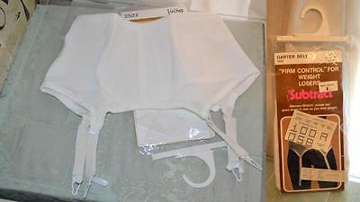vintage new NOS SUBTRACT GARTER BELT GIRDLE 34 firm control white sexy basic